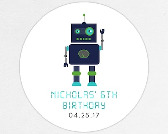 Robot Favor Tag, Robot Favor Label, Robot Stickers, Birthday Favors, Boy Favors, Gear Up, Robot, Robot Theme Party, Navy, Blue, Green, Teal