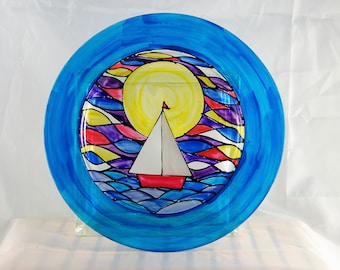 Sailboat at Sunrise, hand-painted plate with blue rim