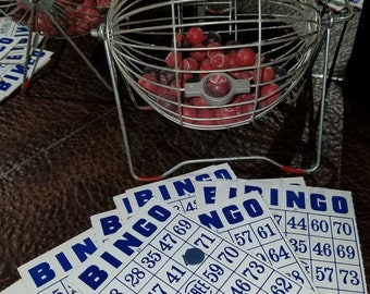 Vintage Mid Century Bingo Game Cage and Cards Family Room Decor