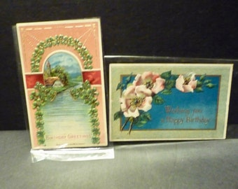 2 1919's Birthday Postcards- Floral & Shamrocks