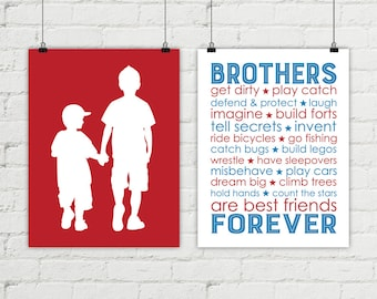 custom brothers wall art - shared boys room wall art - big brother little brother silhouette - red and blue boys room decor prints