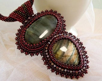 Labradorite Necklace, Bead Embroidered Necklace, Burgundy necklace, Unique Necklace, Beadwork Necklace, OOAK necklace