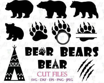 Bear Cut Files, Bear Claw Cut Files, Bear Paw Cut Files, Bear SVG Cut Files, Bear DXF Cut Files, Bear Eps / Png / Jpeg Files 0061
