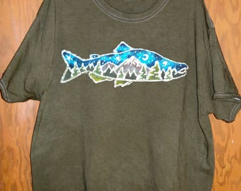 Salmon with Mountains and Pine trees Handmade Batik T-Shirt