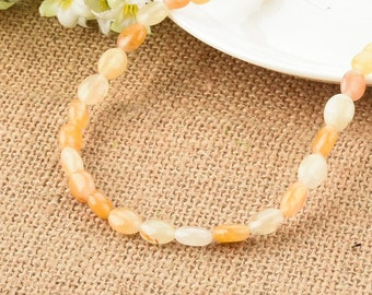 Yellow Jade Gemstone Flat Oval Beads 8*10mm Beads for DIY Jewelry Making