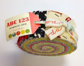 American Jane ABC 123 Jelly Roll By Sandy Klop for  Moda