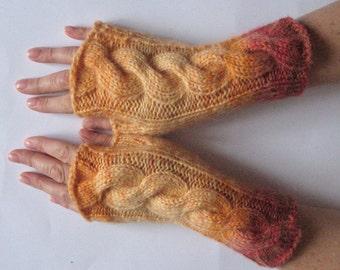 Fingerless Gloves Egg Yolk Yellow Orange Red Brown wrist warmers