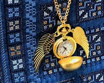 Golden Winged Quartz Pocket Watch Fast Shipping From Utah - Golden Necklace