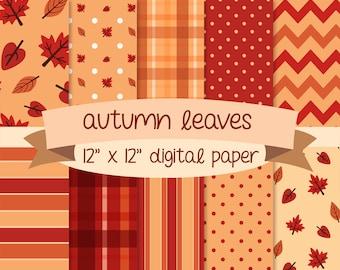 Autumn Leaves digital paper, scrapbook, background, 12 by 12 high resolution 300dpi artwork