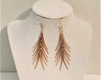 Gold Earrings, Statement Earrings, Elegant Earrings, Spiky Earrings, Dangle Earrings, J'NING Jewelry