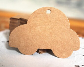 Car shape plain gift tag in set of 50