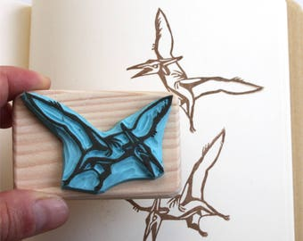 Dinosaur rubber stamp, pteranodon, hand carved, wood mounted