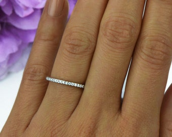 More Sizes! Small Half Eternity Ring, 1.5mm Wedding Band, Engagement Ring, Round Man Made Diamond Simulants, Bridal Ring, Sterling Silver