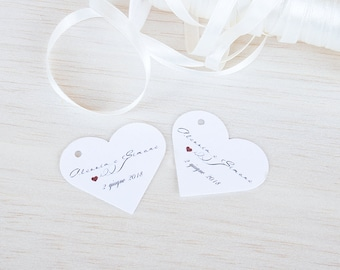 Tags for wedding in the shape of heart, personalized tags, tickets for confetti, thank you cards