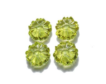 4 Pieces Extremely Beautiful Natural Green Gold Hand Carved Flower Shaped Loose Gemstone Size 13X13 MM