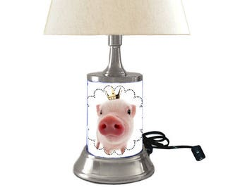 Pig Lamp with shade, piglet