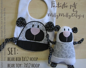 BEAR soft toy & bib SET - 7x12 and 8x12 hoop needed - ITH - In The Hoop - Machine Embroidery Design File, digital download