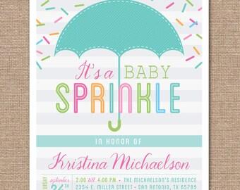 Printable BABY SPRINKLE Invitation - Baby Shower - Umbrella - BS1