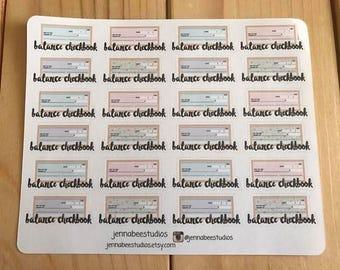 Balance Checkbook Sheet of Planner Stickers - Erin Condren, Happy Planner, Recollections, Kikki K, Plum Paper 108