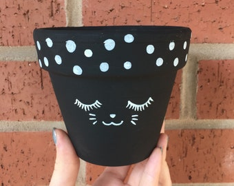 Kawaii Cat Face Polka Dot Illustrated Black Chalkboard Plant Pot 11cm