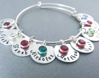 Personalized Name Bracelet -  Hand Stamped - Adjustable Bangle Bracelet - Birthstone Bracelet - Personalized Jewelry - Silver Bangle