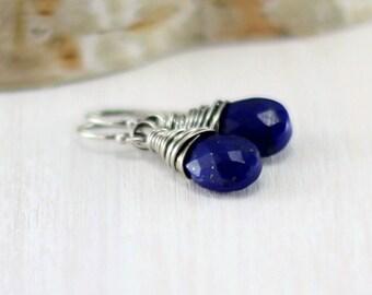 Lapis Earrings, Oxidized Sterling Silver Wire Wrapped Cobalt Blue Lapis Lazuli Drop Dangle Earrings