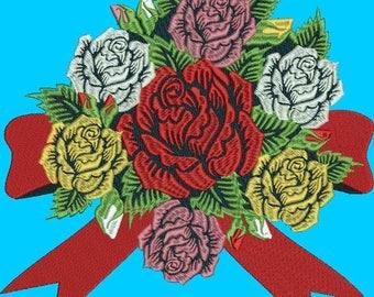 rose machine embroidery design bundle-4 designs.