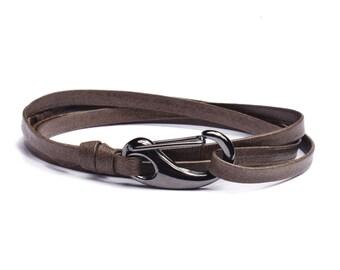 Men's Bracelets - Leather Bracelet for Men - Olive / Brown leather bracelet - leather bracelet for Men - wrap adjustable bracelet for men