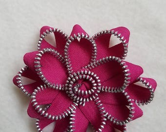Recycled Zipper Flower Lapel Pin Brooch, dark pink with silver teeth