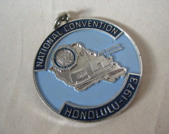 American Legion Silver Blue Pendant Charm National Convention Honolulu 1973 Vintage