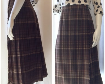 Brown Wool Plaid Pleated Skirt