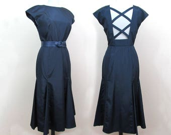 Navy Taffeta Dress crisscross open back and flared skirt - 1980s Morton Myles - Small
