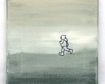 Walking where there is no Path Nr. 5 - Original Painting - Acrylic Paint & Pencil on Canvas - 20 x 20 cm