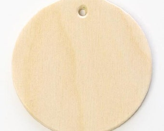 "Set of 25, DIY 2 1/2""  Birch Wood Unfinished Circle Shaped Ornaments, Flat Discs (#0612)"