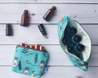Essential Oil Case  - Oil Bottles - cosmetic bag zipper pouch essential oil bag clutch