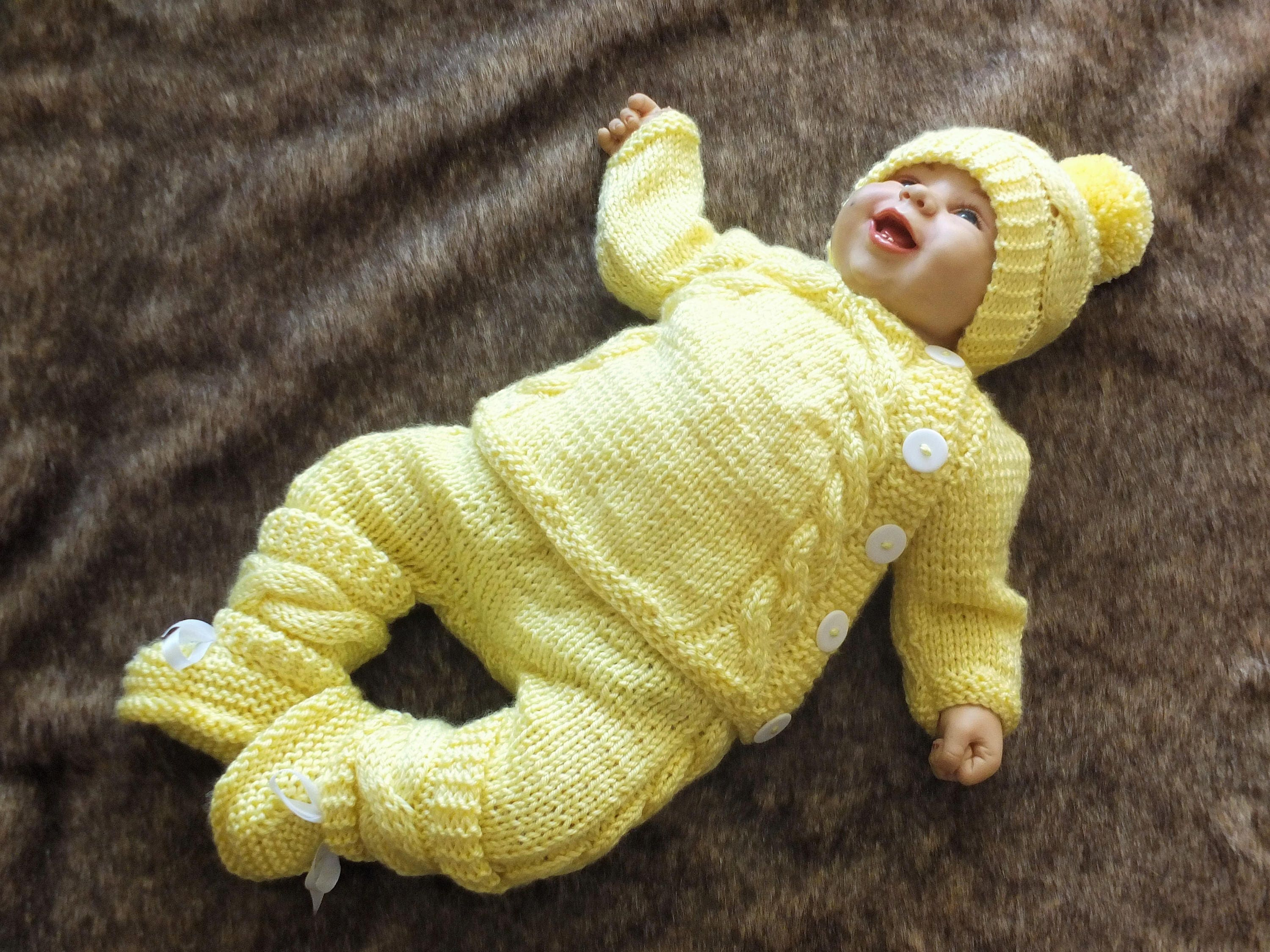 Knitted Yellow Baby ing home outfit Knit Baby Outfit Knitted