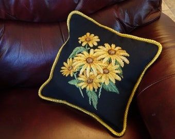 Brown Eyed Susans Cross Stitch Pillow