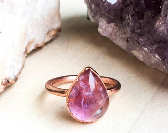 Teardrop Amethyst and Copper Ring Size 8