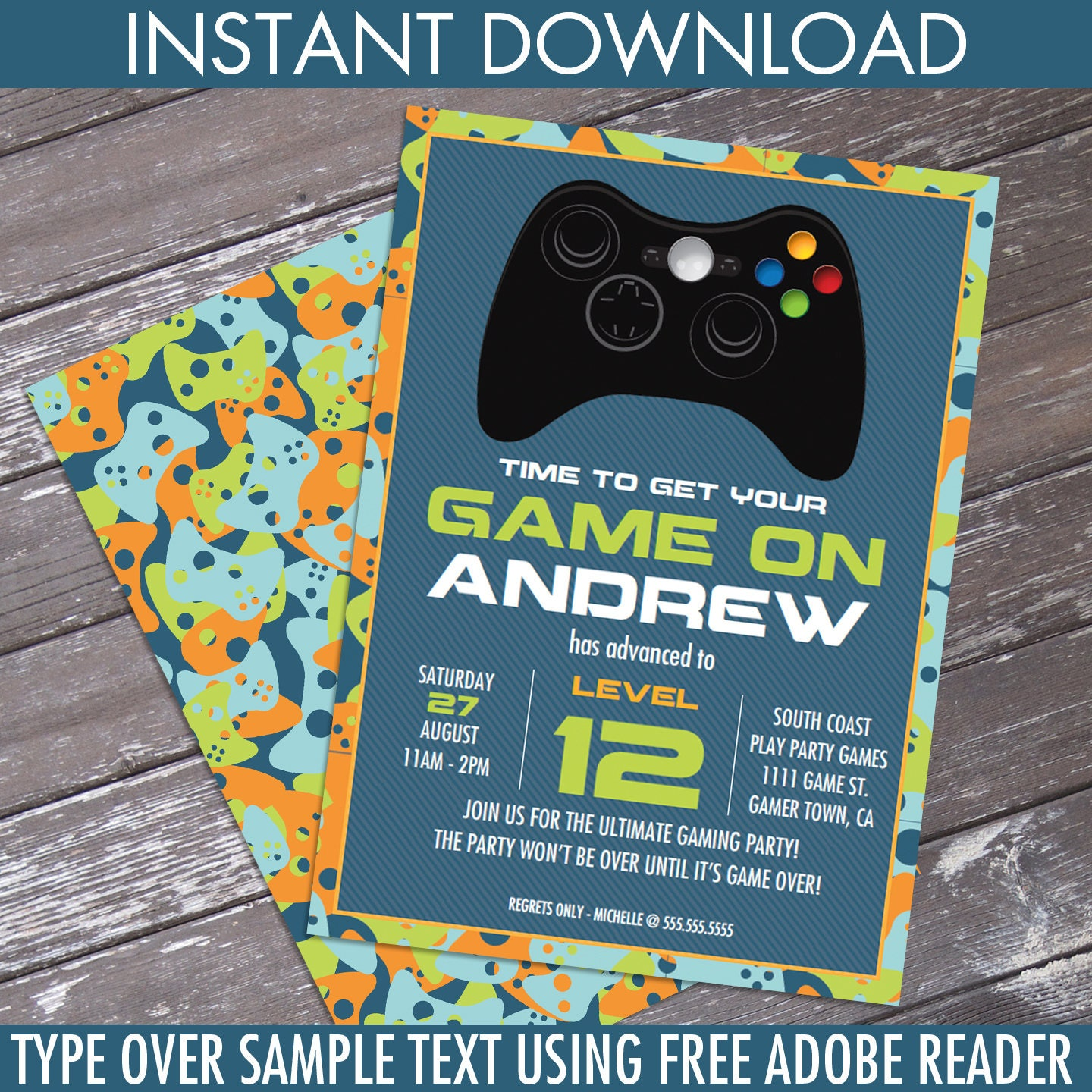 Video Game Birthday Party Invitation - Blue Camo - You Personalize ...