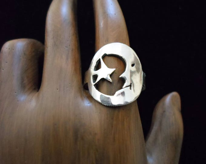 moon and star dime ring