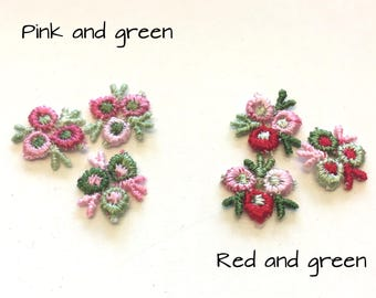 20 tiny woven flower appliques, red or pink flower appliques, sew on flower appliques, flower motifs, flower embellishments, crafts