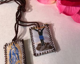 White Virgin of Guadalupe and Jesus Scapular Escapulario Virgen de Guadalupe y Jesus Medium Mexican Art