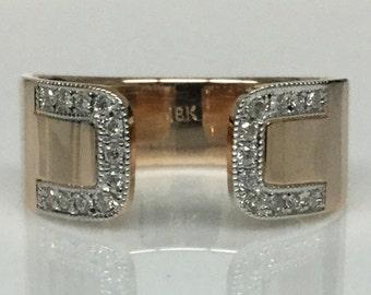 0.13CTW 18k rose gold Cuff Ring w/ White Diamond