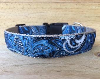 Pretty Blue Paisley Dog Collar
