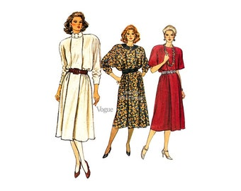 Loose Fitting A Line Dress Pattern Vogue 9405, Flare Skirt, Dolman Sleeves, Sizes 8 10 12, Uncut, 1980s Vintage Sewing Patterns