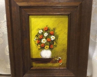 """Vintage Daisy Floral Oil Painting Signed P. Hurt Framed 5"""" X 7"""""""