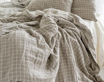 Checkered Duvet cover 100% Linen Flax Gray color - Washed Softened Heavy weight - Twin Full Queen King California King - All size