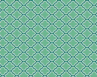 True Colors by Joel Dewberry  / Lodge Lattice in Turquoise/ 1 yard Cotton Quilt/Apparel Fabric