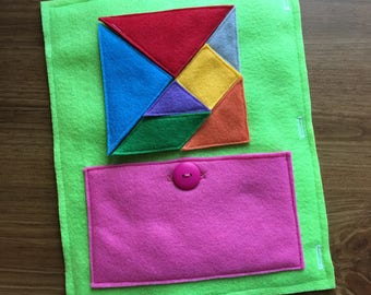 Tangram Quiet Book Page, Tangram Shapes, Educational Toys, Puzzles, Learning Shapes, Button, ThePinkPenguinShop, Tangram Pieces, Colors,