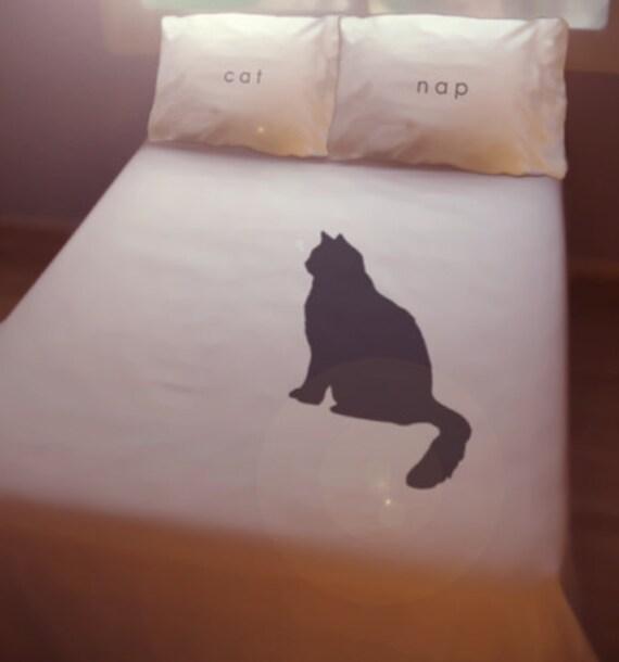 Black Cat Nap Duvet Cover Sheet Set Bedding Queen King Twin